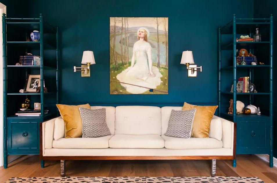 მისაღები ოთახის 15 ლურჯი ფერის იდეა